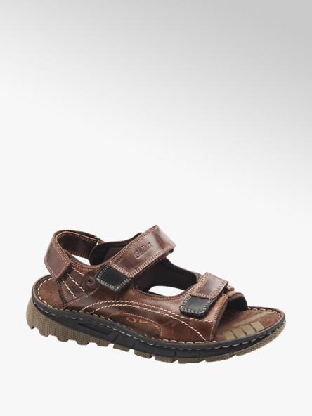 Gallus Мъжки кожени кафяви сандали с велкро Gallus