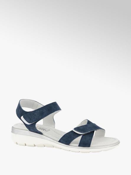 Easy Street Donkerblauwe suède sandaal velcro