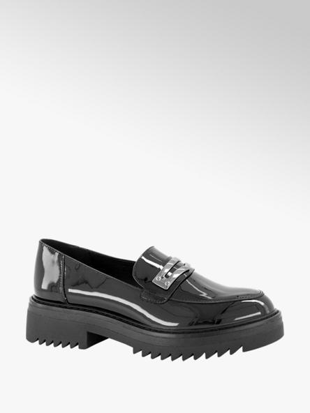 Oxmox Zwarte chunky loafer lak