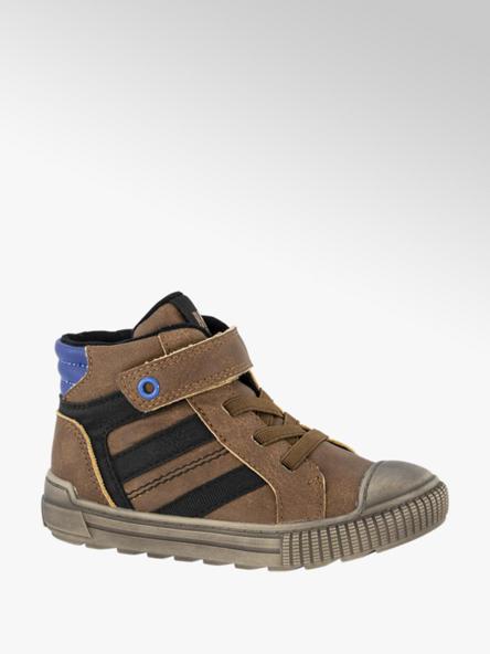 Bobbi-Shoes Halfhoge bruine sneaker met zwarte details