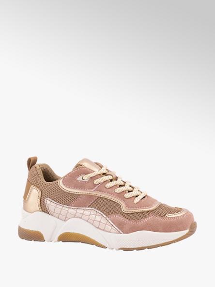 Graceland Roze sneaker krokodillenprint