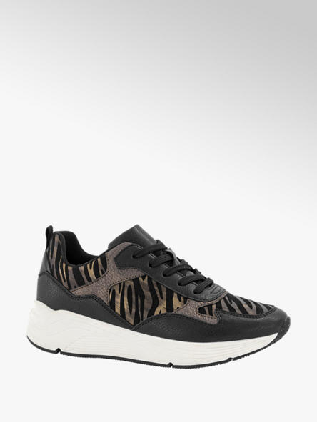 Graceland Zwarte sneaker zebra