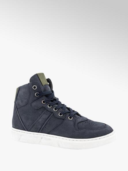 Hoge leren blauwe sneaker