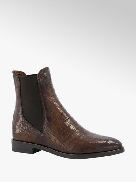 5th Avenue Bruine leren chelsea boot croco