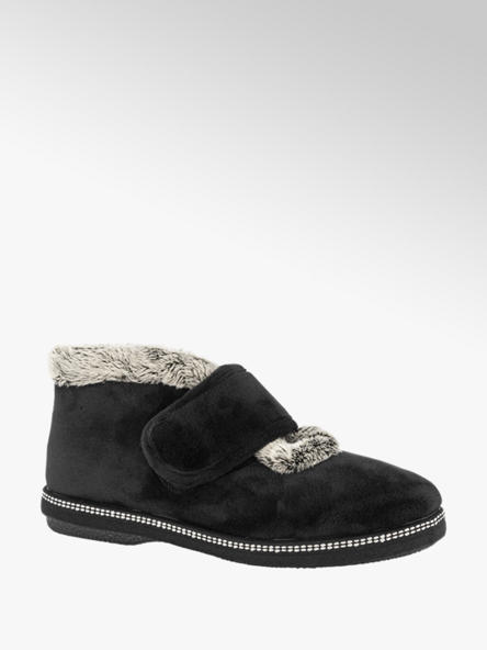 Casa mia Zwarte pantoffel klittenband