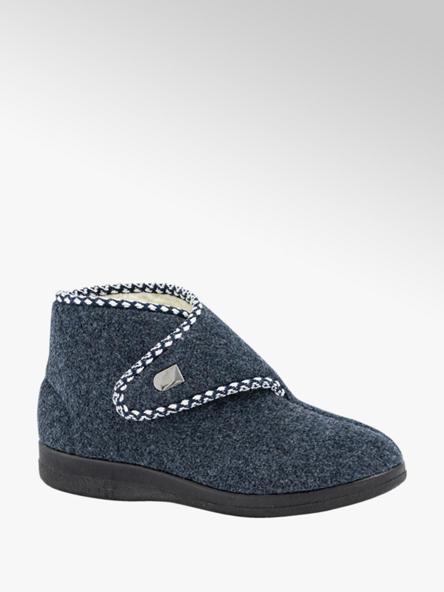 Casa mia Donkerblauwe pantoffel klittenband