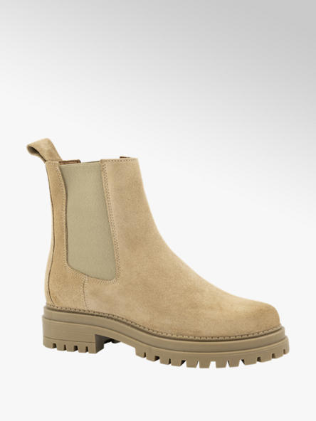 Oxmox Zandkleurige suède chelsea boot