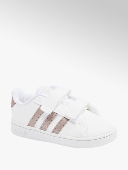 adidas Biele detské tenisky na suchý zips Adidas Grand Court I