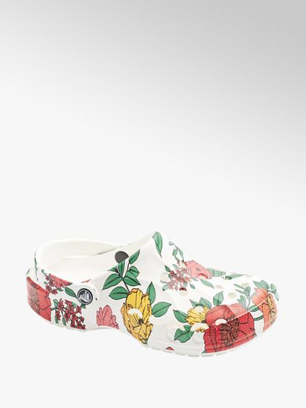 Crocs Biele plážové sandále s kvetinovým vzorom Crocs