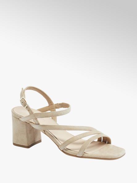5th Avenue Béžové kožené sandále na podpätku 5th Avenue