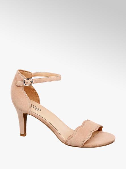 5th Avenue Béžové kožené sandály na podpatku 5th Avenue