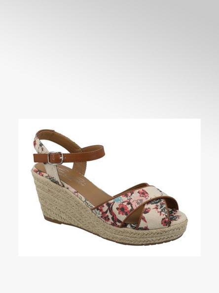 Tom Tailor Béžové sandále na klinovom podpätku s kvetinovým vzorom Tom Tailor