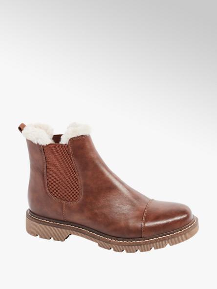 Catwalk Chelsea Boots in Braun mit Fake-Fur