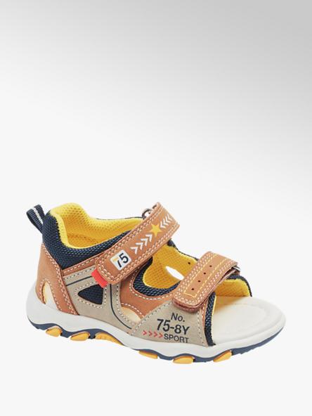 Bobbi-Shoes Hnedo-béžové detské sandále na suchý zips Bobbi Shoes