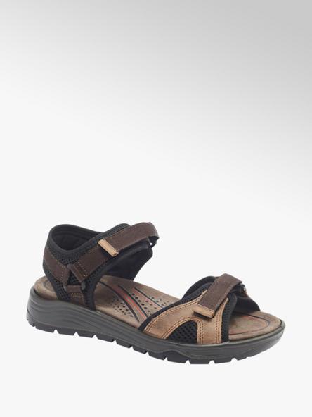 Easy Street Hnedo-čierne kožené komfortné sandále Easy Street