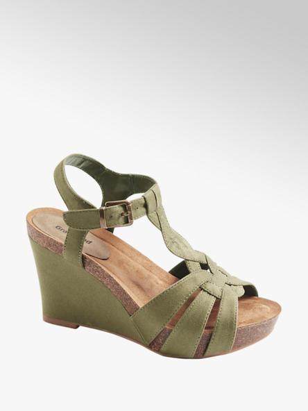 Graceland Kaki sandále na klinovom podpätku Graceland