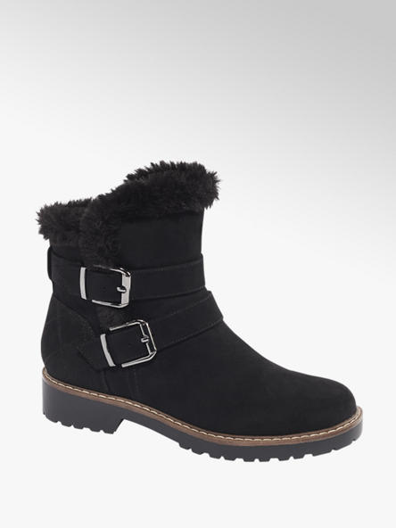 Landrover Black Faux Suede Ankle Boots