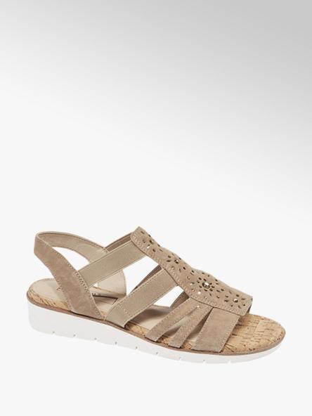 Medicus Leder Keil Sandalen in Beige, Weite G
