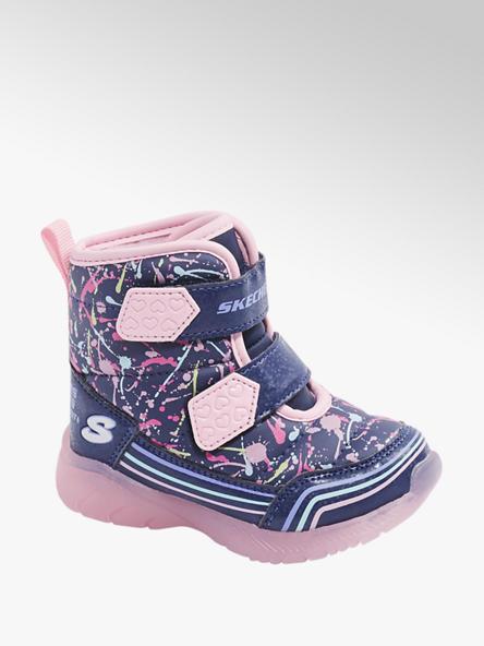 Skechers Modro-ružová detská zimná obuv na suchý zips Skechers