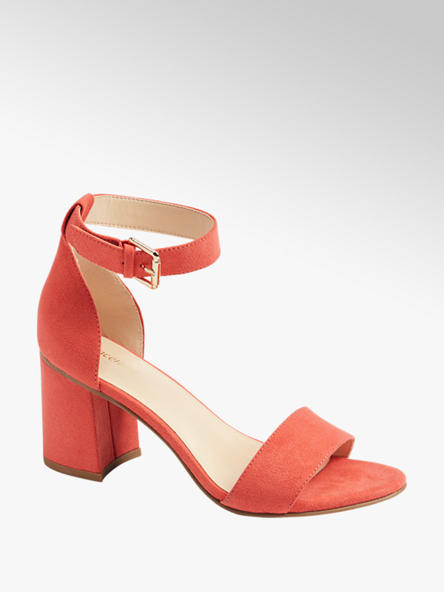 Graceland Oranžové sandály na podpatku Graceland