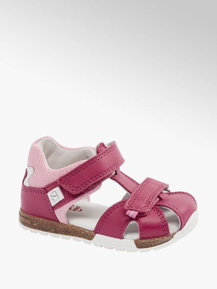 Elefanten Ružové detské kožené sandále na suchý zips Elefanten