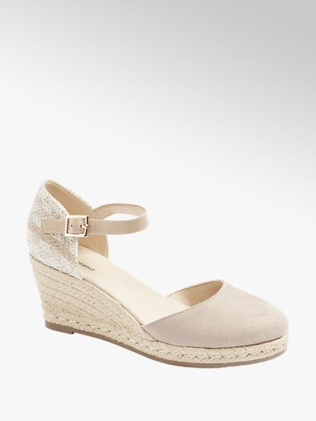 Graceland Ružovo-béžové sandále na klinovom podpätku Graceland