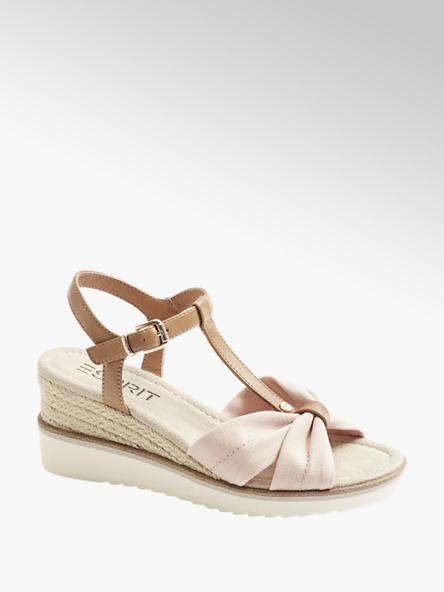 Esprit Ružovo-hnedé sandále na klinovom podpätku Esprit