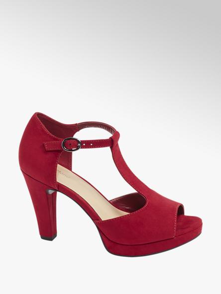Graceland Tmavočervené sandále na podpätku Graceland