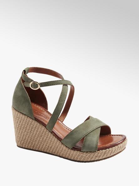 5th Avenue Zelené kožené sandály na klínovém podpatku 5th Avenue