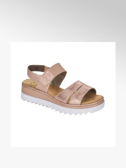 Rieker Zlatoružové kožené komfortné sandále na podpätku Rieker