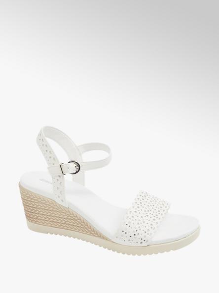 Graceland białe ażurowe sandały damskie Graceland na koturnie