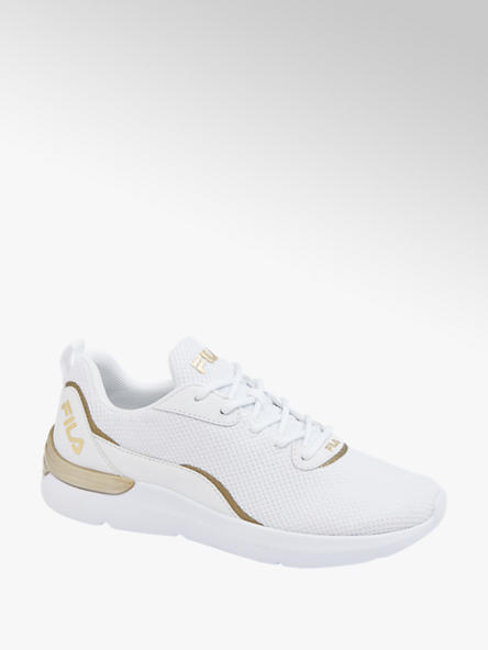 Fila białe sneakersy damskie Fila ze złotymi akcentami