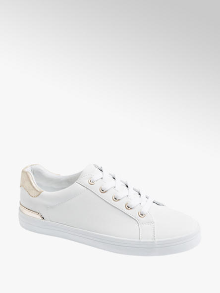 Graceland białe sneakersy damskie Graceland ze złotymi elementami