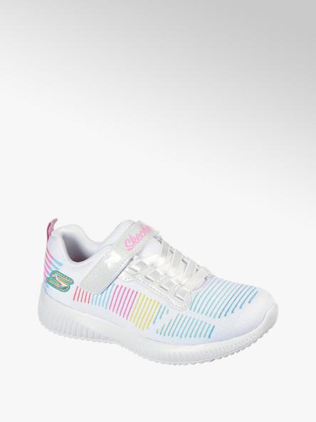 Skechers białe sneakersy dziewczęce Skechers z kolorowymi liniami