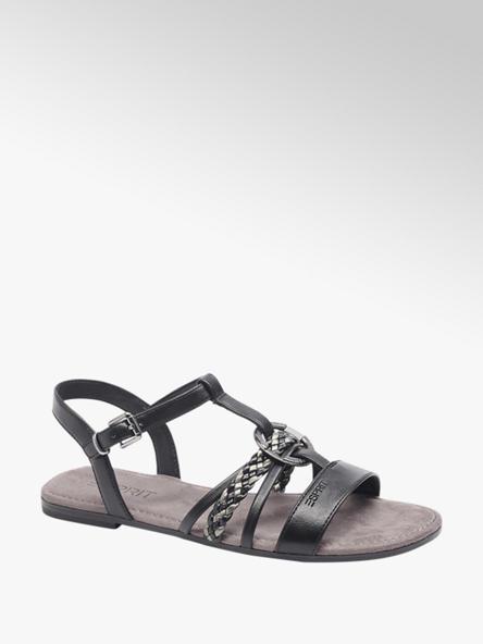 Esprit czarne płaskie sandałki damskie Esprit