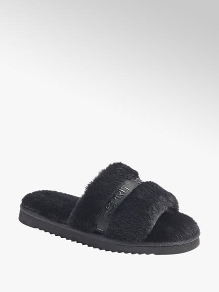 Esprit czarne pluszowe kapcie damskie Esprit