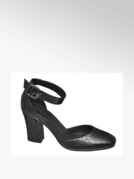 Catwalk czarne sandały damskie Catwalk na obcasie