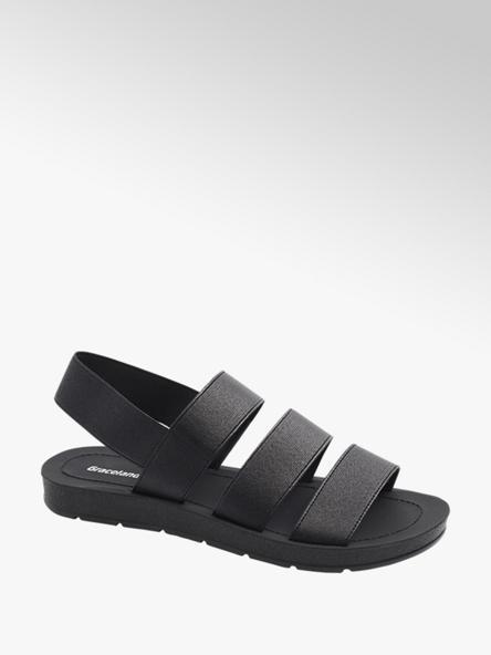 Graceland czarne sandały damskie Gracealand z elastycznymi paskami
