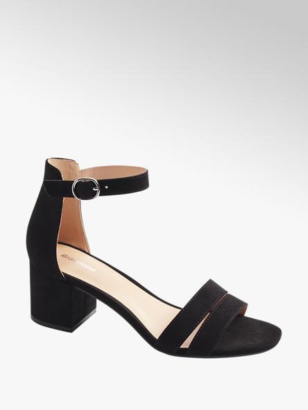 Graceland czarne sandały damskie Graceland na obcasie