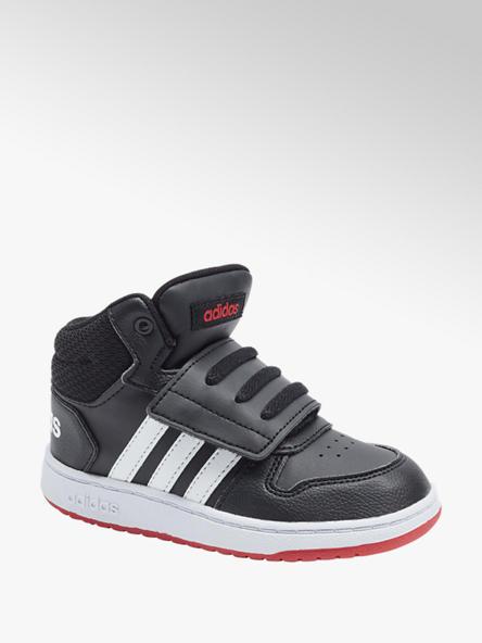 adidas czarno-biało-czerwone sneakersy chłopięce adidas HOOPS MID 2.0 I