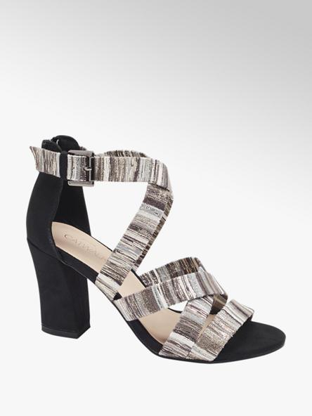 Catwalk czarno-szare sandałki damskie Catwalk na obcasie