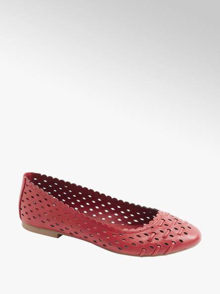 Graceland czerwone  ażurowe baleriny damskie Graceland