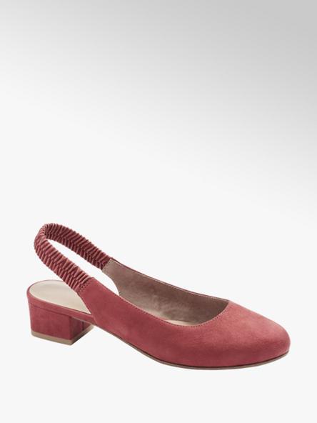 Graceland czerwone baleriny damskie Graceland z odkrytą piętą