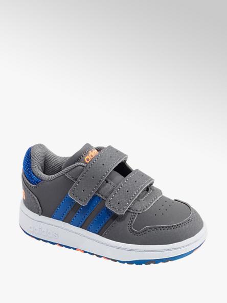 adidas Šedé dětské tenisky na suchý zip Adidas Hoops 2.0 CMF I