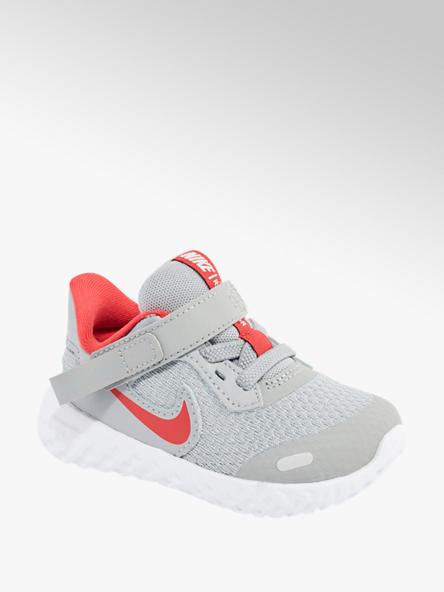 NIKE Šedé dětské tenisky na suchý zip Nike Revolution 5 Flyease