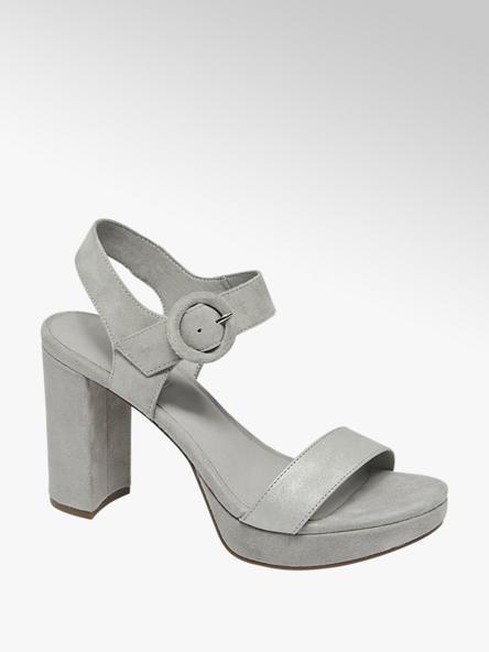 5th Avenue Šedé kožené sandály na podpatku 5th Avenue