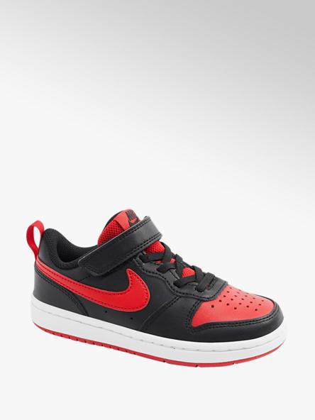 NIKE Červeno-černé dětské tenisky na suchý zip Nike Court Borough