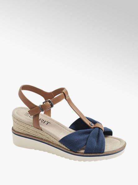 Esprit granatowo-brązowe sandały damskie Esprit na koturnie