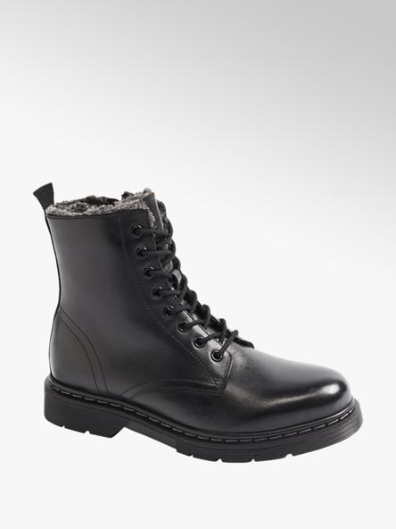 5th Avenue Čierna kožená šnurovacia obuv so zipsom 5th Avenue