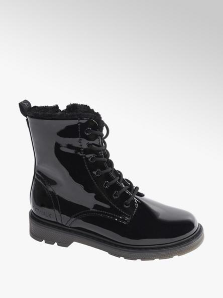 Catwalk Čierna lakovaná šnurovacia obuv so zipsom Catwalk